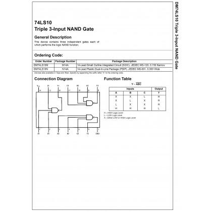 DM74LS10N / SN74LS10N / HD74LS10P / 74LS10 / 7410 ( TRIPLE 3-INPUT NAND GATE )