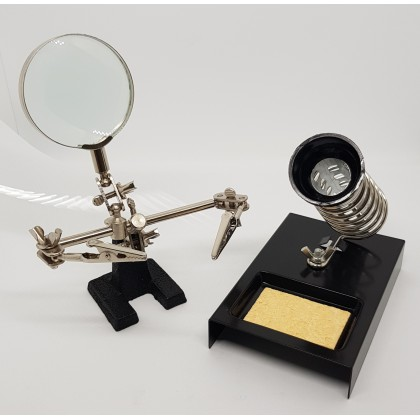 Adjustable Helping Hand with Magnifying Glass for Soldering, Jewelers, Hobbyist and DIY Projects
