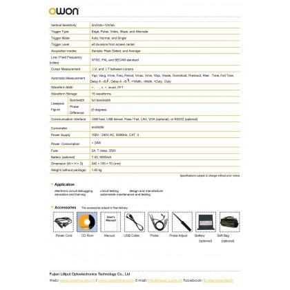 OWON SMART DS SERIES  DIGITAL STORAGE OSCILLOSCOPE