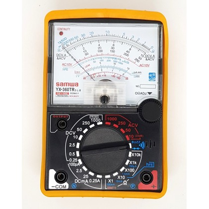 SAMWA ANALOG MULTIMETER / MULTI TESTER WITH BUZZER AND LED INDICATOR YX-360TRE-L-B FREE BATTERIES AND PROTECTIVE RUBBER HOLSTER