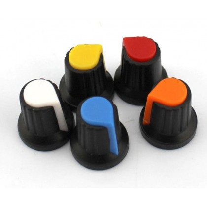 MULTICOLOUR POTENTIOMETER / VARIABLE RESISTOR / ROTARY SWITCH ROTARY KNOB, PUSH FIT, SUITABLE FOR 6MM SHAFT