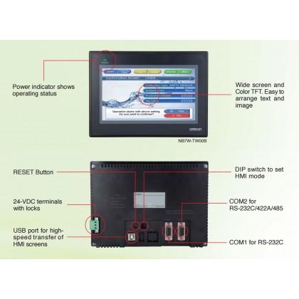 "OMRON NB7W-TW00B TOUCH SCREEN HMI 7"" TFT LCD COLOUR 800 x 480 PIXELS"